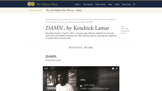 Premio Pulitzer a Kendrick Lamar